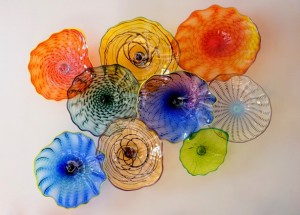 floral wall plates by Belle Mead Hot Glass